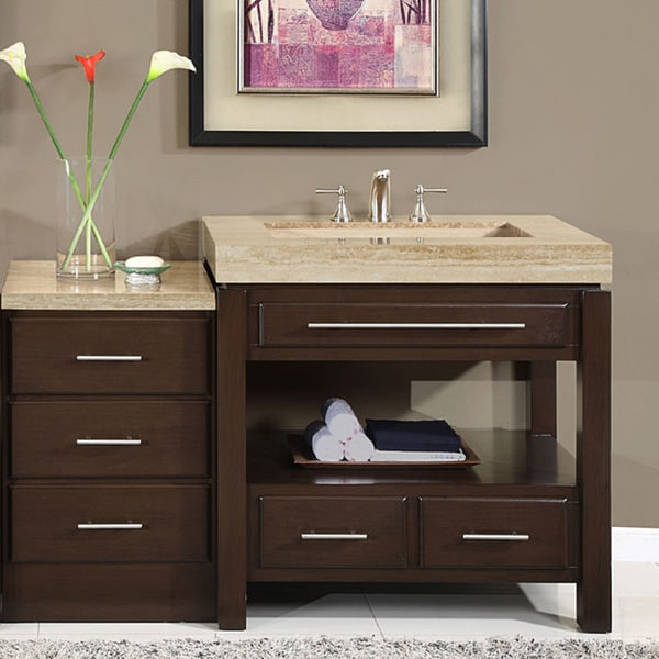 Silkroad Exclusive 56 Inch Stone Counter Top Bathroom Vanity Lavatory  Single Sink Cabinet