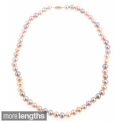 DaVonna 14k 7-7.5mm Multi-Pink Freshwater Cultured Pearl Strand Necklace (16-36 inches)
