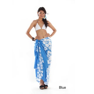 1 World Sarongs Women's Batik 3-row Hibiscus Sarong (Indonesia)