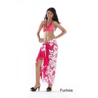 Handmade 1 World Sarongs Women's Batik 3-row Hibiscus Sarong (Indonesia)