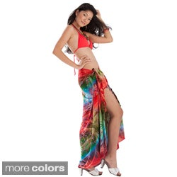 1 World Sarongs Women's Embroidered Tie Dye Sarong (Indonesia)