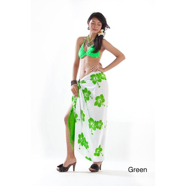 Handmade 1 World Sarongs Women's White and Multi-colored Batik Hibiscus Sarong (Indonesia)