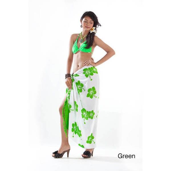 1 World Sarongs Women's White and Multi-colored Batik Hibiscus Sarong (Indonesia)
