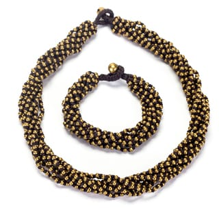 Thai-handicraft Goldtone Bead Cluster Necklace and Bracelet Set (Thailand)