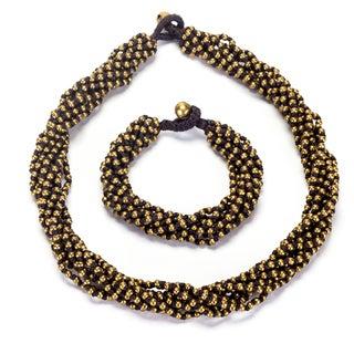 Thai-handicraft Goldtone Bead Cluster Necklace and Bracelet Set (Thailand)