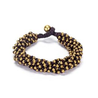 Thai-handicraft Goldtone Bead Cluster Bracelet (Thailand)
