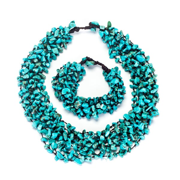 Thai-handicraft Turquoise Cluster Necklace and Bracelet Set (Thailand)