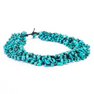 Thai-handicraft Turquoise Cluster Necklace (Thailand)