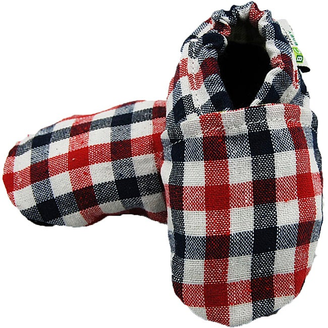 Augusta Baby Blue/ Red Checkered Soft Sole Canvas Shoes