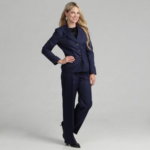 Evan Picone Women's 3-button Starburst Jacket Pant Suit