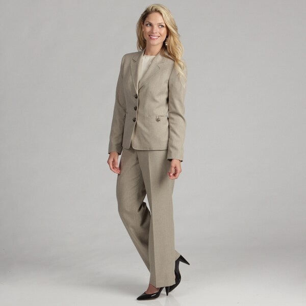 Evan Picone Women's 3-button Quicksand Pant Suit