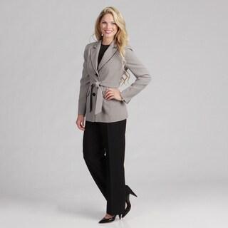 Evan Picone Women's Black Multi 2-button Pant Suit FINAL SALE
