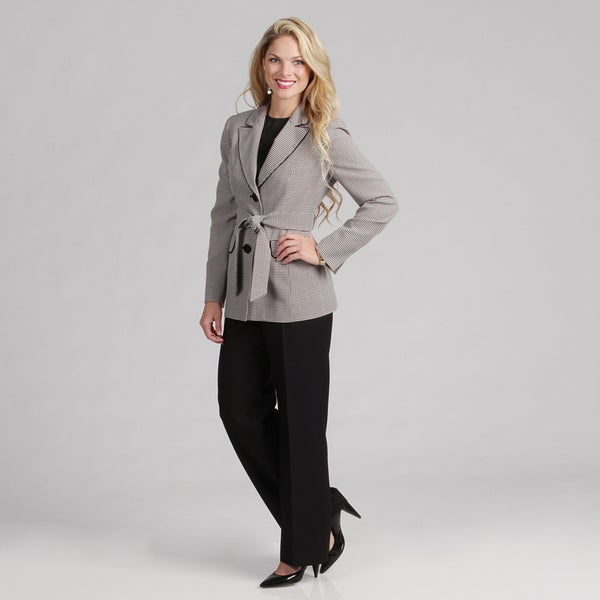 Evan Picone Women's Black Multi 2-button Pant Suit FINAL SALE