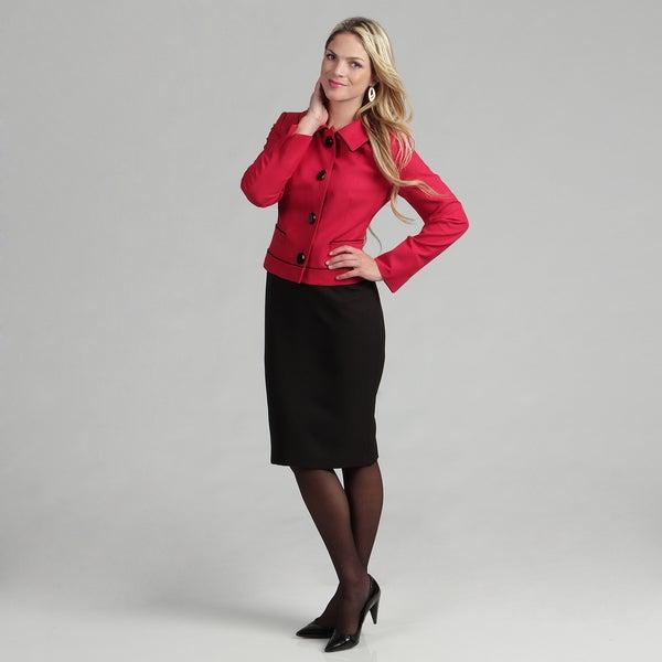Evan Picone Women's Crimson/ Black Skirt Suit