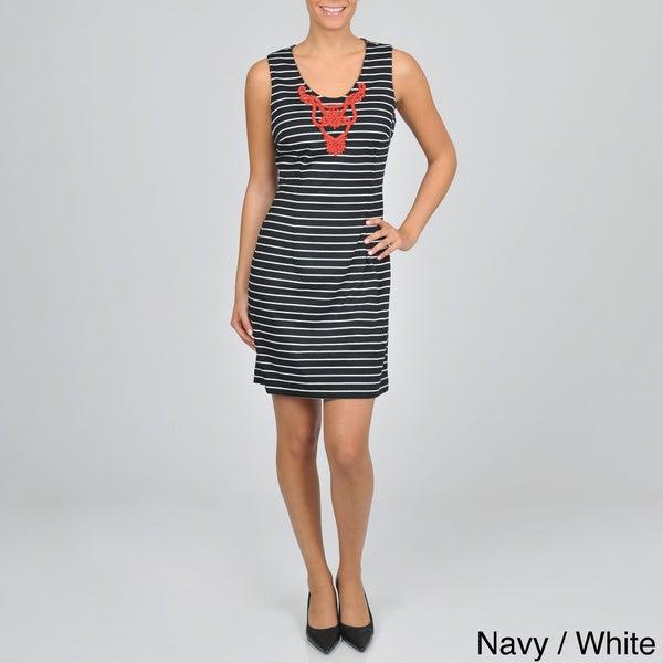 Sharagano Women's Sleeveless Striped Ponte Dress