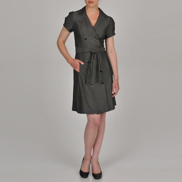 Sharagano Women's Double Breasted Trench Dress