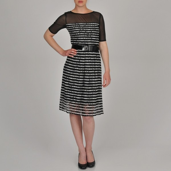 Sharagano Women's Belted Stripe Lace Dress