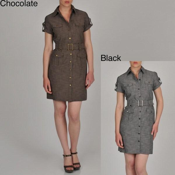 Sharagano Women's Belted Denim Shirtdress