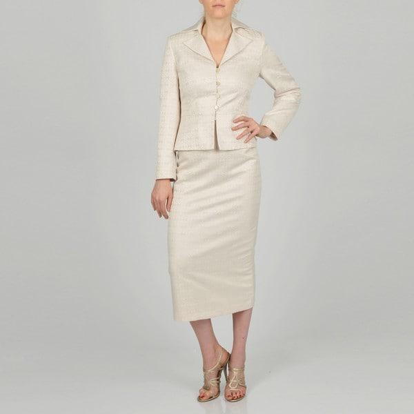 Signature by Larry Levine Women's Jacquard Column Skirt Suit