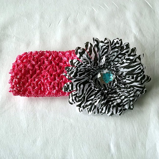 Zebra Rhinestone Flower and Crochet Headband
