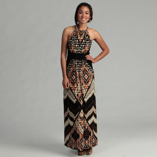 Shop London Times Women S Black Yellow Keyhole Maxi Dress
