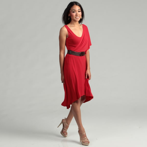London Times Women's Red Belted Dress