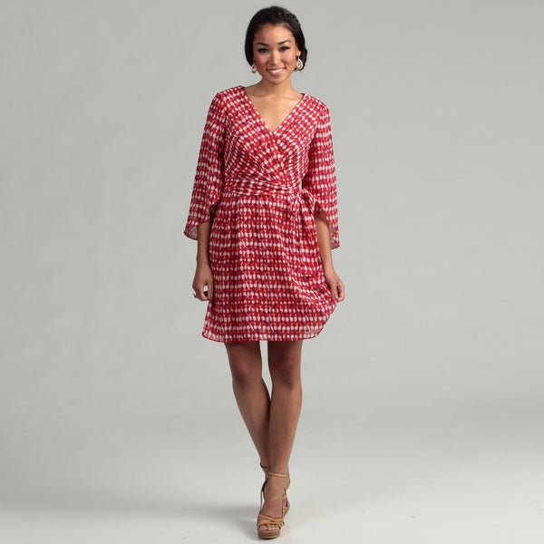 London Times Women's White/ Cherry Tulip Sleeve Belted Dress