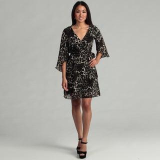 London Times Women's Black/ Grey Animal Print Dress FINAL SALE
