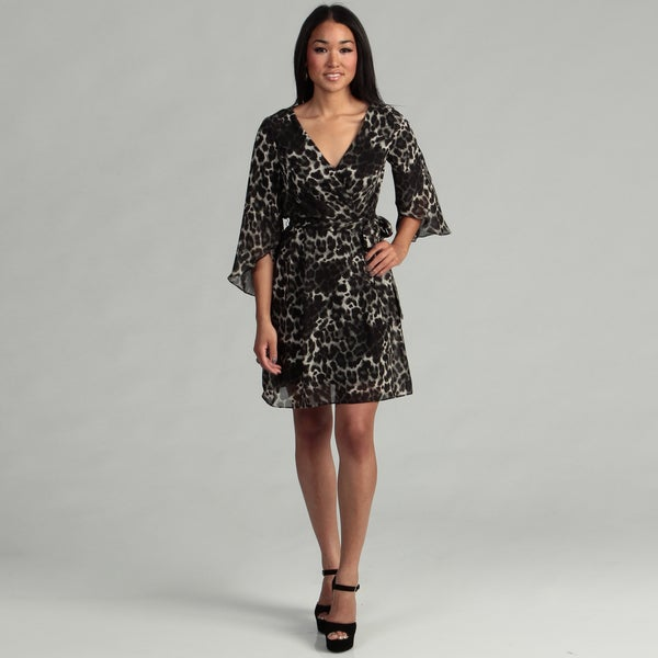 London Times Women's Black/ Grey Animal Print Dress FINAL SALE