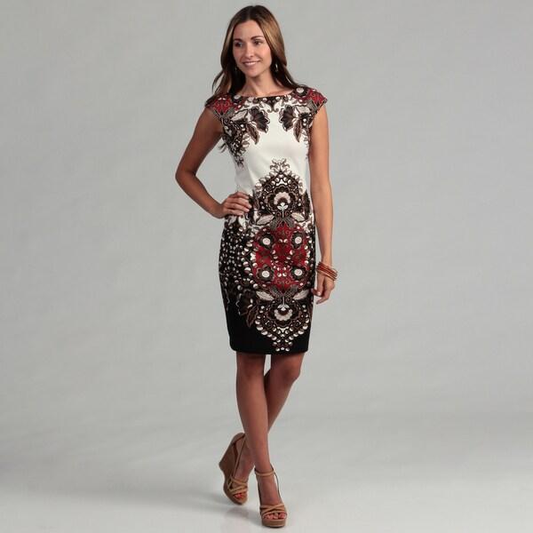 London Times Women's Floral Motif Cap Sleeve Sheath Dress