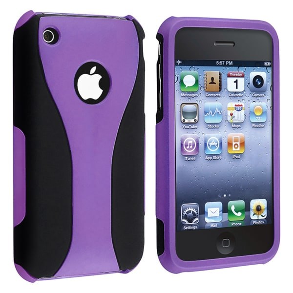 BasAcc Purple/ Black Cup Shape Snap-on Case for Apple iPhone 3G/ 3GS