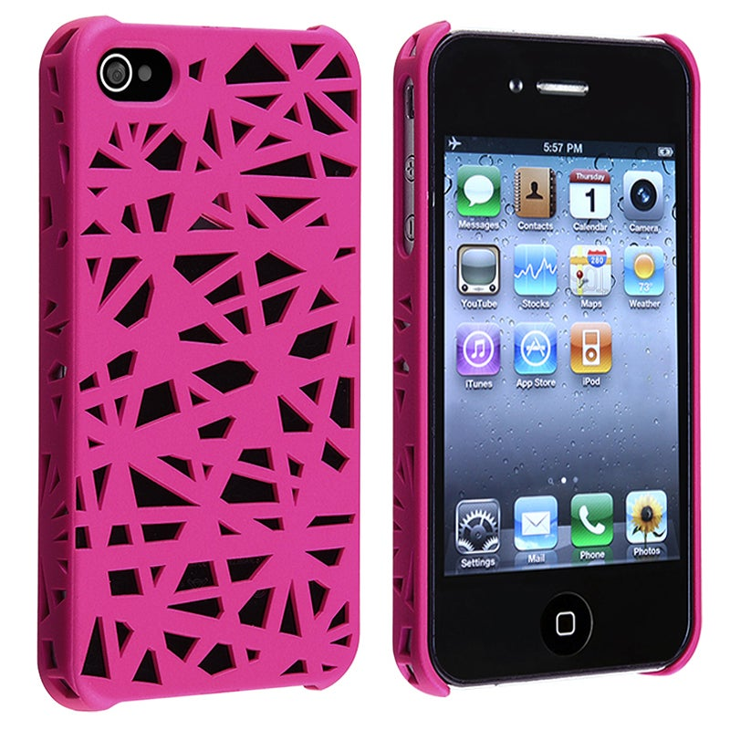 INSTEN Pink Bird Nest Rubber Coated Phone Case Cover for Apple iPhone 4/ 4S
