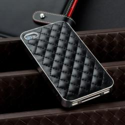 BasAcc Black Leather/ Silver Side Snap-on Case for Apple iPhone 4/ 4S - Thumbnail 1