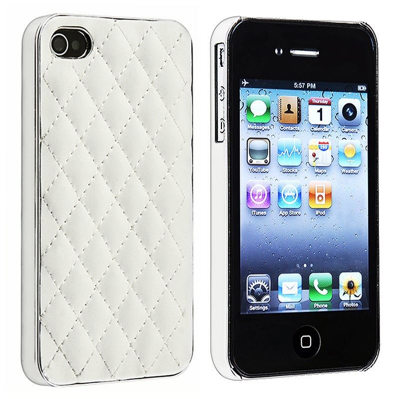 BasAcc White Leather/ Silver Side Snap-on Case for Apple iPhone 4/ 4S - Thumbnail 0