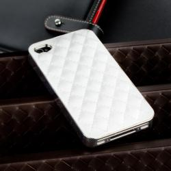 BasAcc White Leather/ Silver Side Snap-on Case for Apple iPhone 4/ 4S - Thumbnail 1