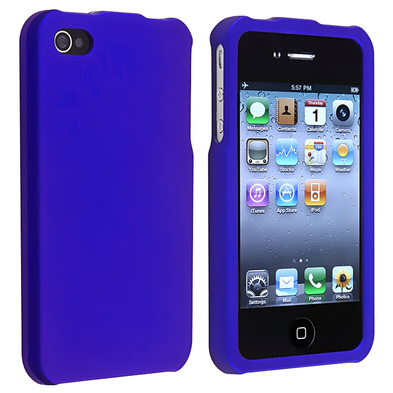 BasAcc Dark Blue Snap-on Rubber Coated Case for Apple iPhone 4/ 4S