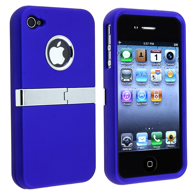INSTEN Blue/ Chrome Stand Snap-on Phone Case Cover for Apple iPhone 4/ 4S
