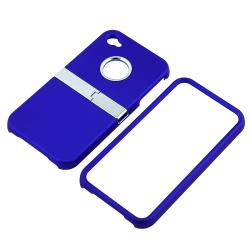 INSTEN Blue/ Chrome Stand Snap-on Phone Case Cover for Apple iPhone 4/ 4S - Thumbnail 1