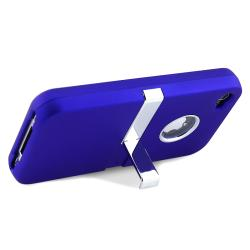 INSTEN Blue/ Chrome Stand Snap-on Phone Case Cover for Apple iPhone 4/ 4S - Thumbnail 2