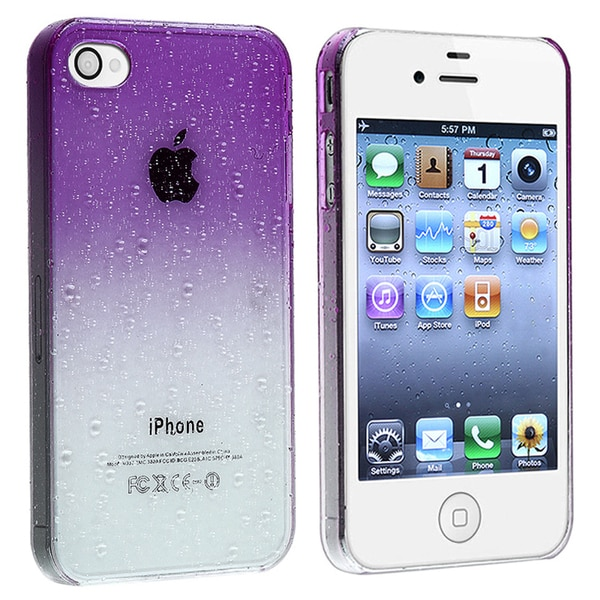 INSTEN Clear Purple Water Drop Snap-on Phone Case Cover for Apple iPhone 4/ 4S