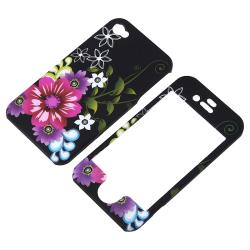 BasAcc Red/ Purple Flower Rubber Coated Case for Apple iPhone 4/ 4S - Thumbnail 1