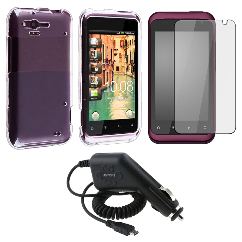Crystal Case/ Screen Protector/ Car Charger for HTC Rhyme - Thumbnail 0