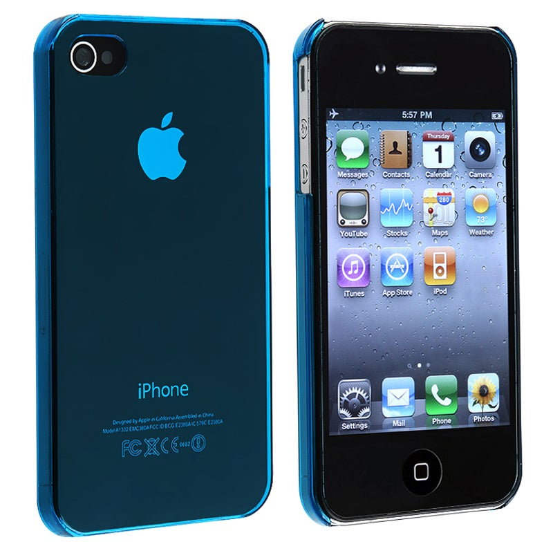 INSTEN Blue Slim-fit Snap-on Phone Case Cover for Apple iPhone 4/ 4S