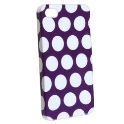 INSTEN Purple/ White Dot Rubber Coated Phone Case Cover for Apple iPhone 4/ 4S