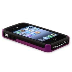INSTEN Dark Purple/ Black Checker Hybrid Phone Case Cover for Apple iPhone 4/ 4S