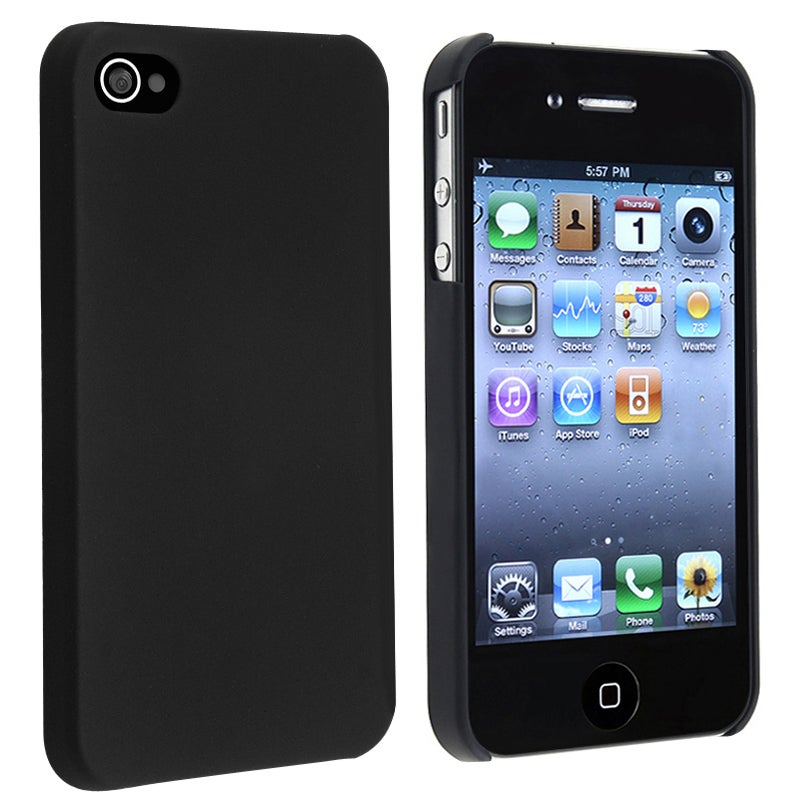 INSTEN Black Snap-On Rubber-Coated Plastic Phone Case Cover for Apple iPhone 4/ 4S