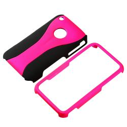 BasAcc Hot Pink/ Black Cup Shape Snap-on Case for Apple iPhone 3G/ 3GS - Thumbnail 1
