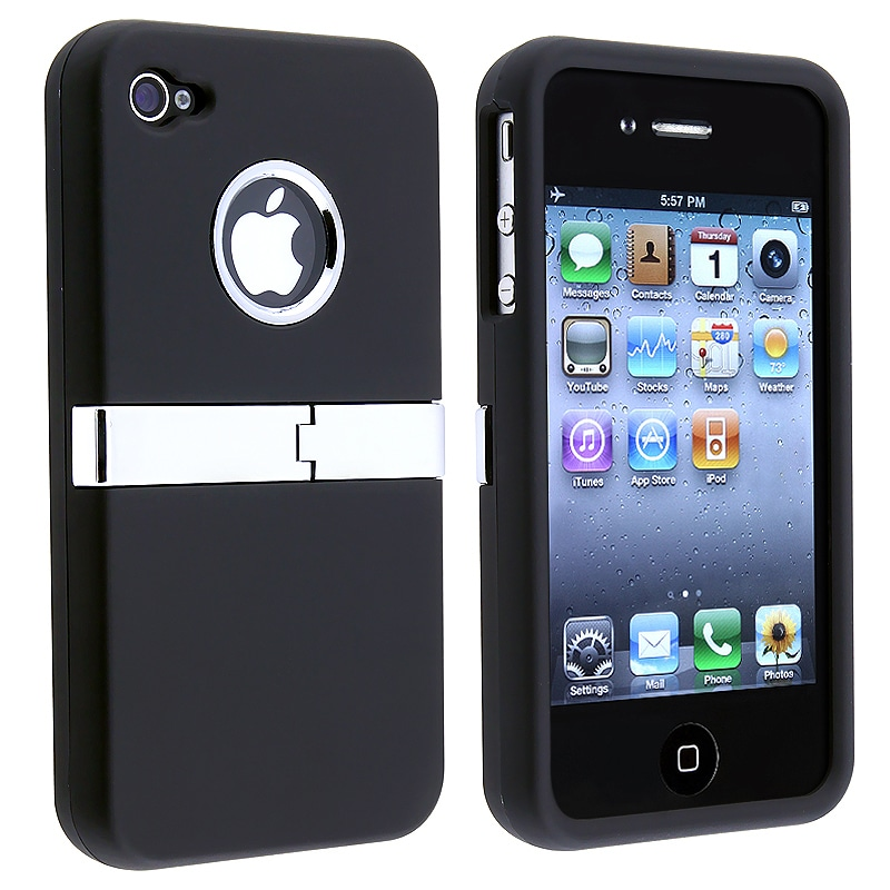 INSTEN Black/ Chrome Stand Rubber Coated Phone Case Cover for Apple iPhone 4/ 4S