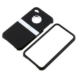 INSTEN Black/ Chrome Stand Rubber Coated Phone Case Cover for Apple iPhone 4/ 4S - Thumbnail 1