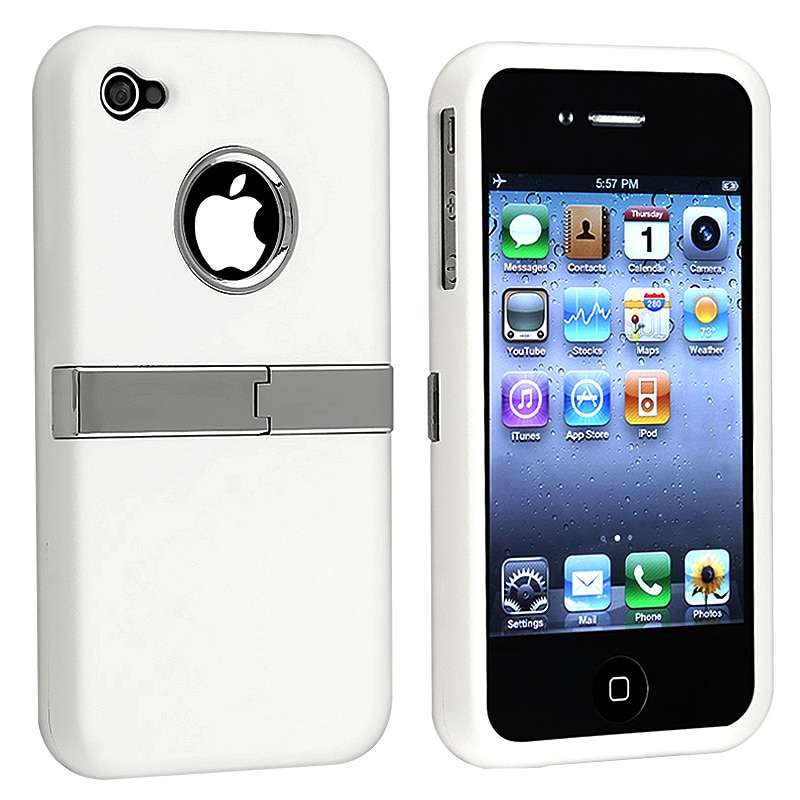 INSTEN White/ Chrome Stand Rubber Coated Phone Case Cover for Apple iPhone 4/ 4S